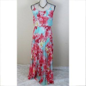 Bisou Bisou Orange Floral Print Maxi Dress Size 6